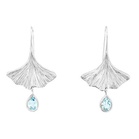 Blue Topaz Gingko Leaf Earrings