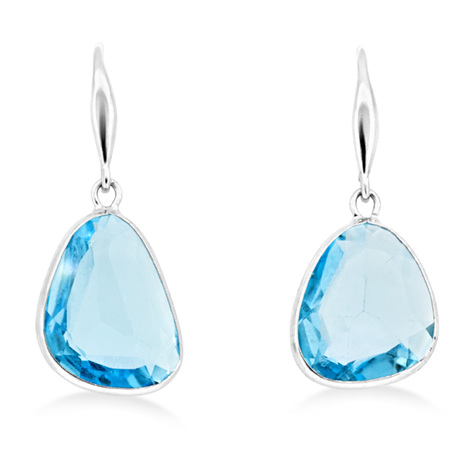 Blue Topaz Hook Drop Earrings