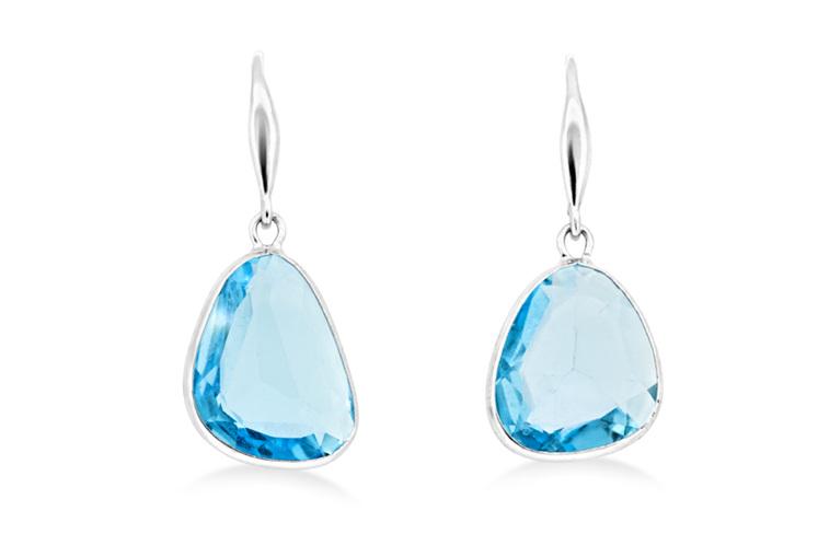 Blue Topaz Hook Drop Earrings