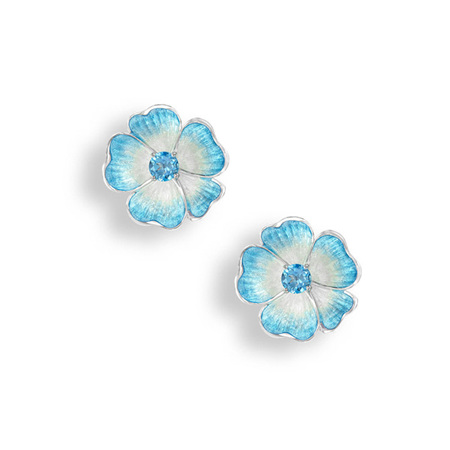 Blue Topaz Rose Earrings