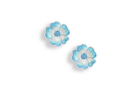 Blue Topaz Rose Earrings