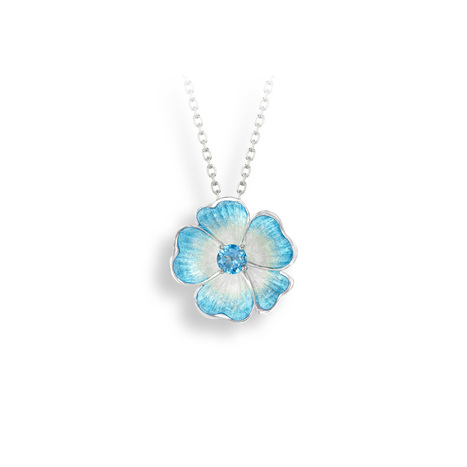 Blue Topaz Rose Necklace