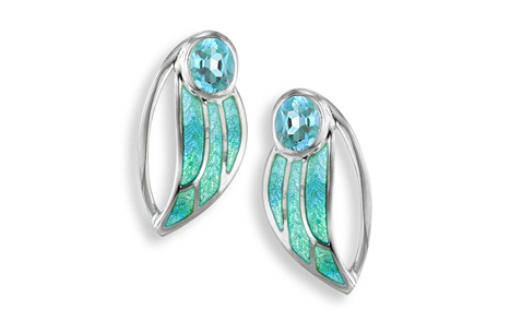 Blue Topaz Turquoise Enamel Leaf Earrings