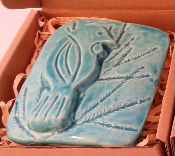 Blue Tui ceramic wall art