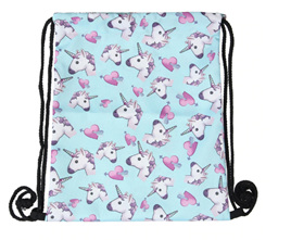 BLUE Unicorn & Hearts Polyester Bag