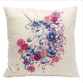 BLUE UNICORN WITH MULTICOLOURED ROSES CUSHION COVER