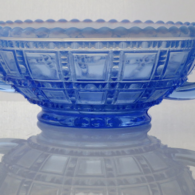 Blue vaseline glass