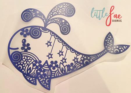 Blue Whale Doodle Heat Press Vinyl
