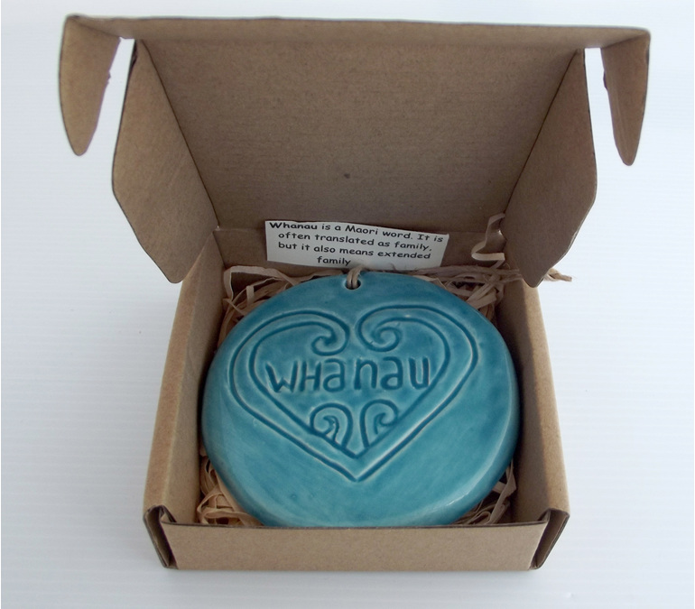 Blue Whanau Ceramic Wall Art in a box