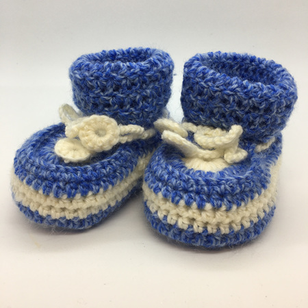 Blue & White Crochet Baby Booties with Sheepskin Sole