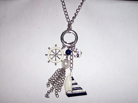 Blue & White Nautical Pendant With Charms