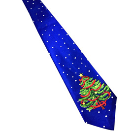 BLUE WITH GREEN CHRISTMAS TREE NOLVETY CHRISTMAS TIE