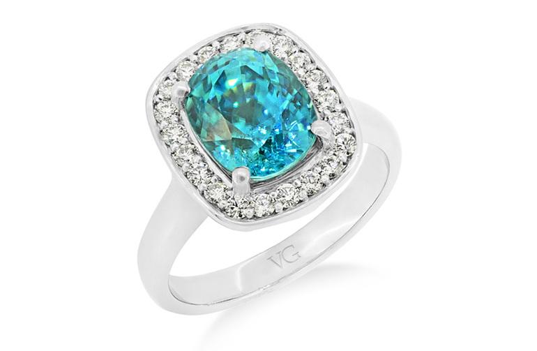 blue zircon and diamond dress ring