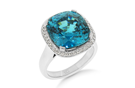 Blue Zircon and Diamond Halo Ring