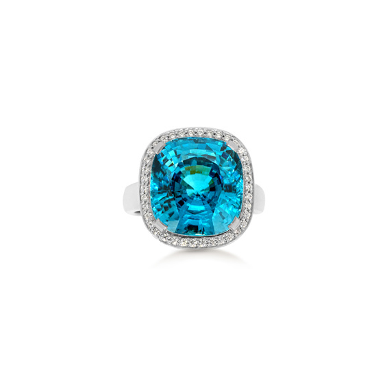 Blue Zircon diamond dress ring, white gold, cushion cut, halo ring.