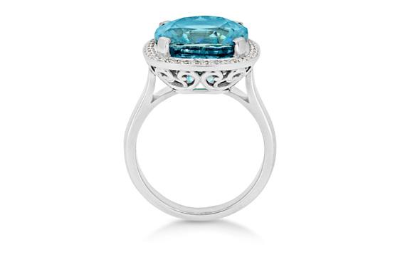 Blue Zircon diamond dress ring, white gold, cushion cut, halo ring.