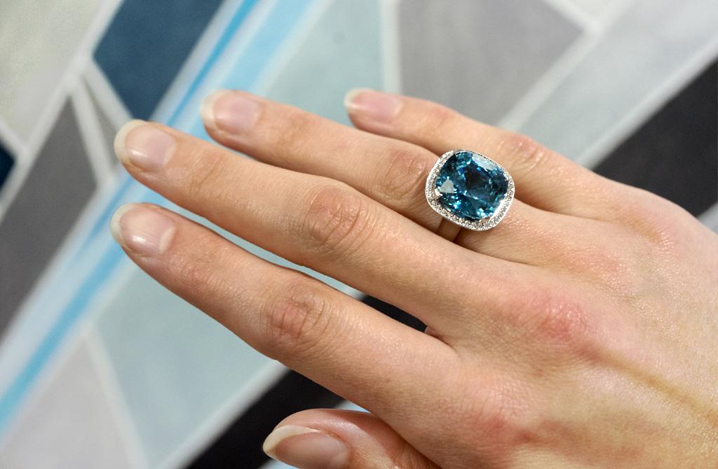 Greatest Blue Zircon and Diamond Halo Ring - The Village Goldsmith WU12