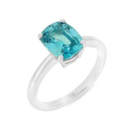 Blue Zircon Solitaire Ring