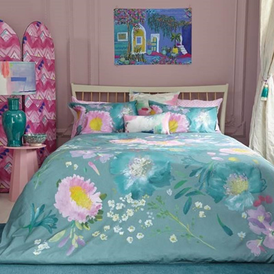 Bluebell Grey Kippen Teal Duvet Set