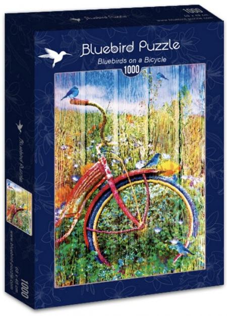Bluebird 1000 Piece Jigsaw Puzzle: Bluebirds on a Bicycle