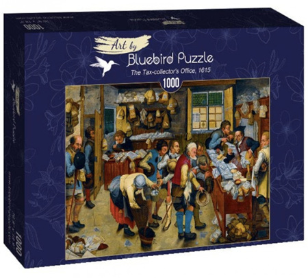 """Bluebird 1000 Piece Jigsaw Puzzle:  Brueghel the Younger: """"The Tax-collector's Office, 1615"""""""