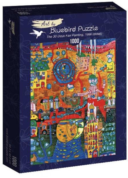 Bluebird 1000 Piece Jigsaw Puzzle:  Hundertwasser - The 30 Days Fax Painting, 1996