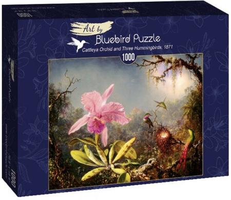 Bluebird 1000 Piece Jigsaw Puzzle:  Martin Johnson Heade - Cattleya Orchid and Three Hummingbirds, 1