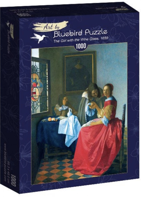 Bluebird 1000 Piece Jigsaw Puzzle:  Vermeer- The Girl with the Wine Glass, 1659