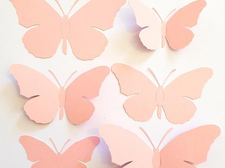 Blush pink paper butterflies