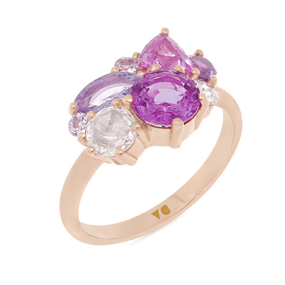 Blushing Rose: Pink and Rose Gold Cluster Ring