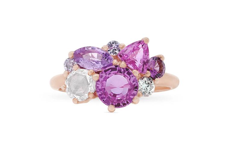 Blushing Rose Pink Sapphire, Diamond and 18ct Rose Gold Cluster Dress Ring