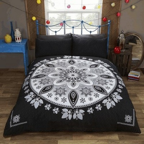 Background Images For Bedroom Bedroom Bed Design Indian Black And White Themed Bedroom Bedroom Lighting Perth: Bohemian Black UK Double Duvet Cover Set