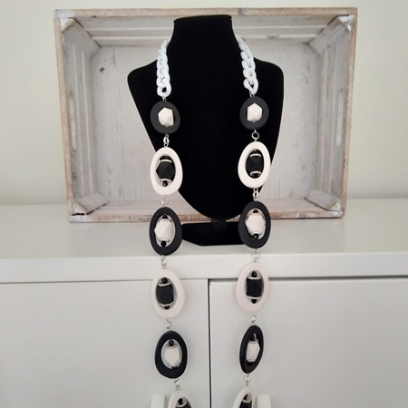 Bold Black and White Window necklace