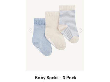 Boody Baby 3 Pairs Of Socks Chalk/Sky 6-12m