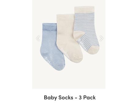 Boody Baby 3Pairs of Socks Chalk/Sky 3-6m