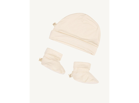 Boody Baby Beanie & Booties - Chalk