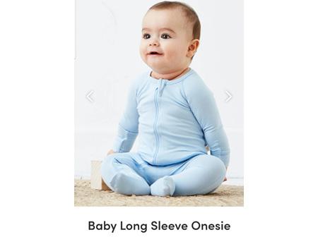 Boody Baby Long Sleeve Onesie Sky 3-6m