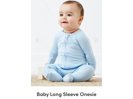 Boody Baby Long Sleeve Onesie Sky 6-12m