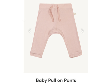 Boody Baby Pull On Pants Rose 3-6m