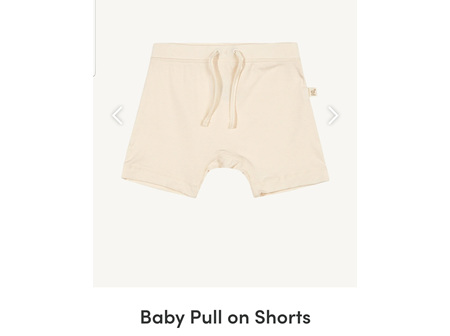 Boody Baby Pull On Shorts Chalk 3-6m 00