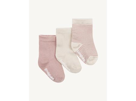 Boody Baby Socks 3 Pairs - Chalk/Rose