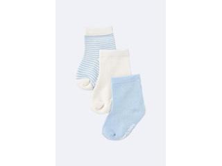 Boody Baby Socks 3 Pairs - Chalk/Sky
