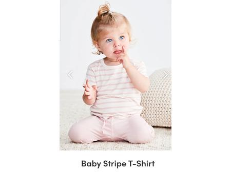 Boody Baby TShirt Rose Stripe 3-6m