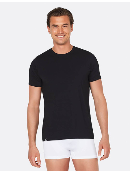 Boody mens crew neck t shirt black large