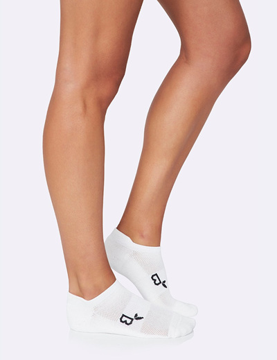BOODY Women's Active Sport Sock - White Size 3-9
