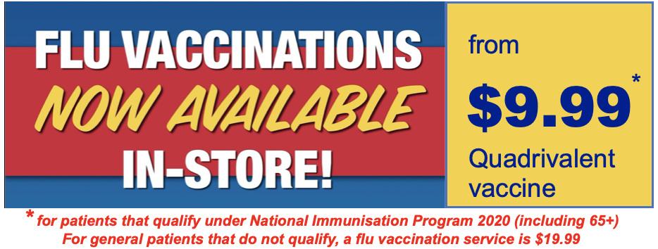 Book a flu vaccination or influenza immunisation at Discount Pharmacy Australia