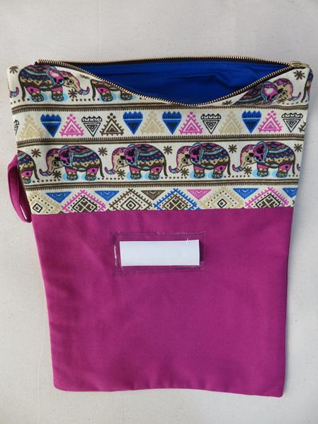Book Bag A3 - Pink Elephant