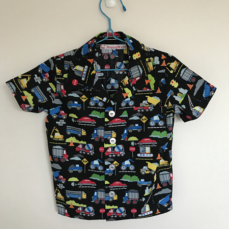 Boys Shirt:  Black background Transport & machinery  - SIZE 6
