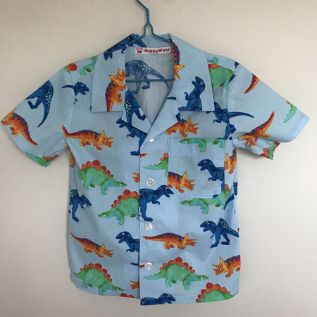 Boys shirt: Blue background, dinosaur print - Size 7-8