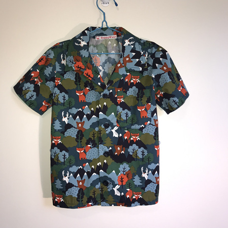 Boys Shirt: Jungle animals: Blue, with foxes and bears - SIZE 6